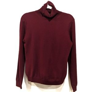 BROOKS BROTHERS burgundy merino wool turtleneck